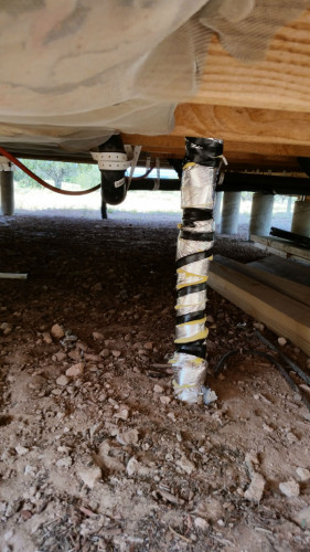 New insulation on water pipe inlet.